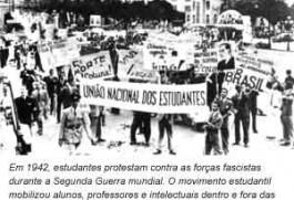 Estudantes protestam contra as forças nazi-facistas