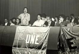 Ato da posse da diretoria da UNE Gestão de 1982, no TUCA