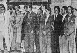 Delegados ao IX Congresso da União Nacional dos Estudantes (UNE), 1946, na sede da entidade